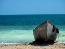 Boat. Fisherman's boat on the beach in Vama Veche, Romania Stock Image