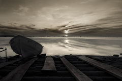 Boat. At baltic sea on sunset time Stock Photography