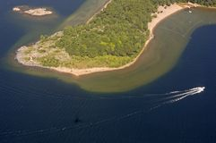 Boat. Bird's-eye view on lake and islands Royalty Free Stock Photography