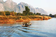 Boat. On river in Vang Vieng, Laos Royalty Free Stock Photo