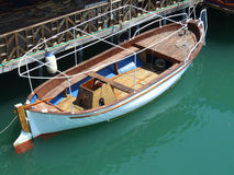 Boat. On the river Bojana in Montenegro stock photo