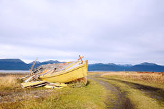 Boat abandoned ashore. Royalty Free Stock Image