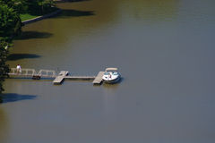 Boat From Above. A view of a boat on a lake from above stock image