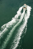 Boat from above. View from above a small water craft stock images