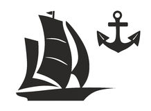 Boat. Abstract illustration of a sailboat with anchor Royalty Free Stock Photography