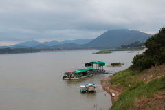 Boat across the Mekong River stock photography