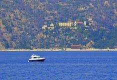 Boat Aegean sea Athos Greece Stock Images