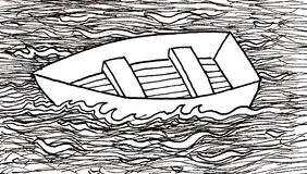 Boat Afloat. Pen and ink illustration of an empty row boat floating on a river Royalty Free Stock Photos