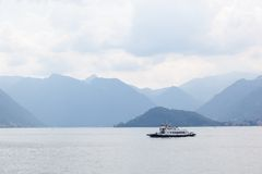 Boat against mountains on Lake Como Royalty Free Stock Photo