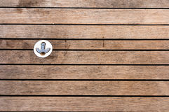 Boat aged wooden deck with hook Royalty Free Stock Image