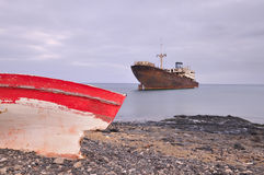 Boat aground. Royalty Free Stock Photos