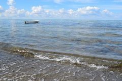 Boat alone. Boat in the baltic sea Royalty Free Stock Photo