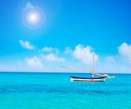Boat alone in the sea Stock Photo