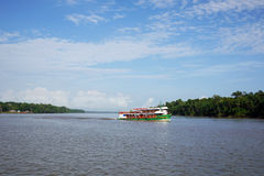 Boat in Amazon river stock images