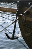 Boat Anchor. Anchor on an old wooden ship Stock Image