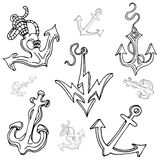 Boat Anchor Drawing Set Royalty Free Stock Image