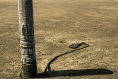 Boat anchor at the middle of the beach sand and an old rope Royalty Free Stock Photos