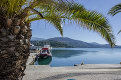 Moored boat in the port of Argostoli on the island of Kefalonia stock photography