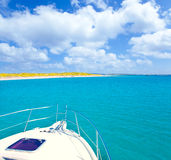 Boat anchored in Formentera Espalmador island Royalty Free Stock Photo