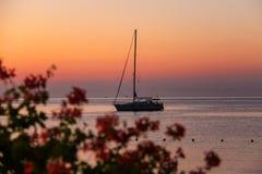 Boat anchored in the small port on Elba Island, Italy Stock Photos