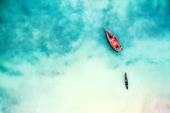Free Boat And Ship In Beautiful Turquoise Ocean, Top View Stock Photography - 93852652