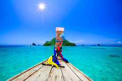 Boat in andaman sea in summer vacation Royalty Free Stock Photo