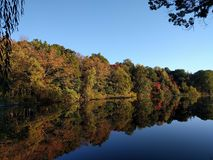 Chattahoochee fall colors. Boat angle on the Chattahoochee royalty free stock images