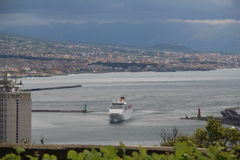 Boat approaching Port of Naples Italy. Boat approaching the Port of Naples Italy with a landscape view of Naples stock photography