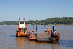 Boat at the Argentina and Paraguay border along the Parana` river stock photography