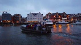 Boat arriving in Tromso harbour