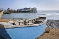 Boat ate the beach in Miraflores district in Lima Stock Photography