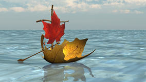 Boat from Autumn Leaves on the Water surface. Illustration Stock Photos