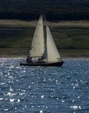 Boat backlight. Sailboat boat backlight at sunset Stock Images