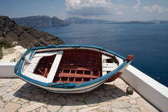 Boat on the balcony, Santorini, Greece Royalty Free Stock Images