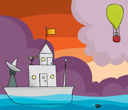 Boat and Balloon. Stick figure on boat with telescope looking at a hot air balloon Stock Image