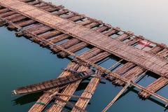 Boat on bamboo bridge Stock Photography