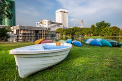 Boat in the Bangkok city park Royalty Free Stock Image