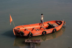 Boat on bank of Narmada, India. Royalty Free Stock Image