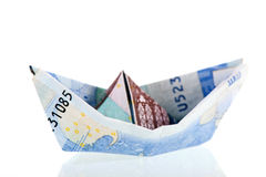 Boat from bank notes Royalty Free Stock Photography