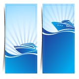 Boat banners. Blue background ,vector illustration Stock Photos