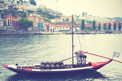 Boat with barrels of port wine Stock Images