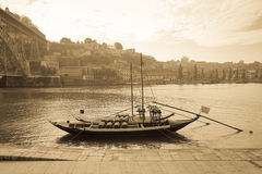 Boat with barrels of wine at the berth. Douro River. city of Por Stock Photo