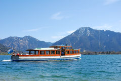 Boat on bavarian mountain lake. Lake Tegernsee Stock Image