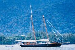 Boat at bay. View of a sailboat at Teluk Burau, Langkawi Island Stock Image