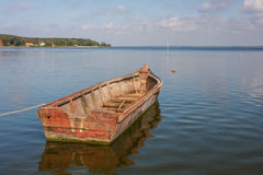 Boat in the bay of Juodkrante. Lithuania Royalty Free Stock Image