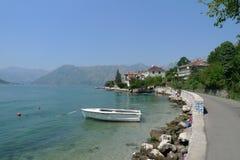 Boat in bay of Kotor Royalty Free Stock Photo