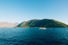 Boat in the Bay of Kotor. Montenegro, the water of the Adriatic Stock Photography