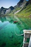 Boat in the bay in Lofoten Stock Photo