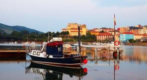 Boat at Bay of Santander in  morning Stock Photography