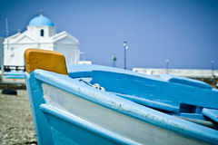 Boat on the beach. A blue boat on the beach in the old harbour, Mykonos, Greece Stock Photos